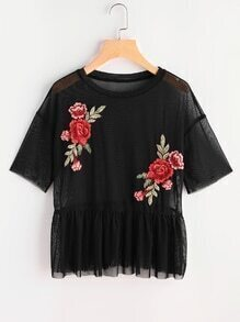 Drop Shoulder Flower Patch Tulle Peplum Top