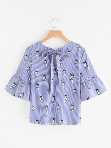 Cat Print Keyhole Tie Back Trumpet Sleeve Striped Top