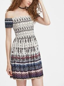 Ornate Print Smocked Bodice Bardot Dress