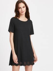 Laser Cut Scallop Edge Tunic Dress
