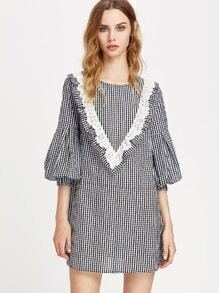 Eyelet Embroidered Ruffle Yoke Bishop Sleeve Gingham Dress