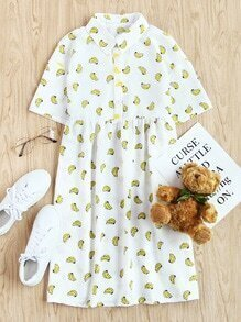Allover Banana Print Half Placket Babydoll Dress