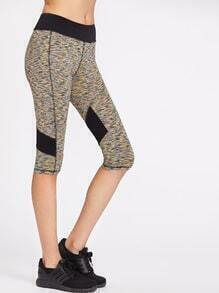 Contrast Panel Space Dye Knee Length Leggings
