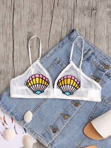 Embroidered Seashell Patch Mesh Bralette