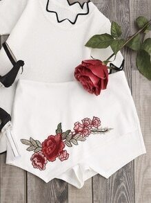 Rose Patch Zip Back Wrap Skort