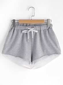 Sport Mesh Trim Heathered Drawstring Shorts