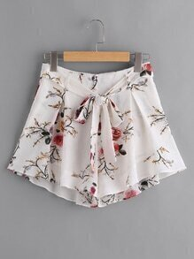 Self Belt Pleated Wide Leg Floral Shorts