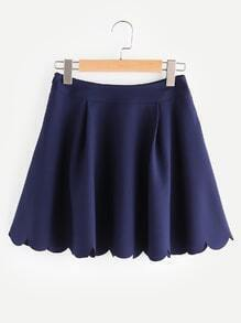Scallop Edge Front Pleat Side Zip Skirt