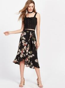 Flower Print Asymmetric Ruffle Wrap Skirt