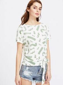 Brush Stroke Print Bow Tie Front T-shirt