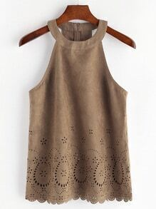 Laser Cut Scallop Hem Zip Back Suede Halter Top