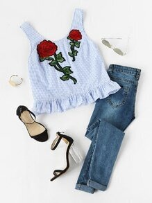 Embroidered Rose Patch Ruffle Hem Striped Tank Top