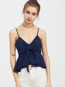 Zip Side Knot Overlay Peplum Cami Top