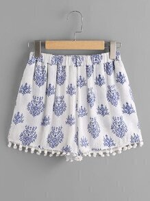 Pom Pom Trim Leaf Pattern Crinkle Shorts