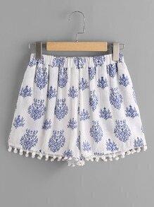 Pom Pom Trim Leaf Pattern Crinkle Shorts