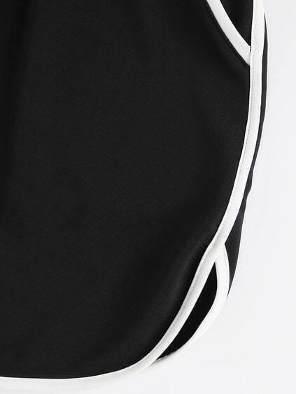 Contrast Binding Dolphin Hem Drawstring Skirt