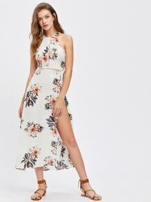 Floral Print Hollow Out Open Back Split Dress