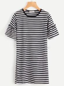 Flute Sleeve Striped Tee Dress