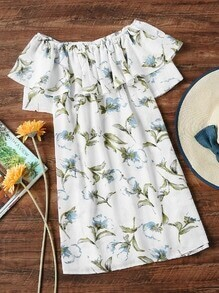 Boat Neckline Layered Floral Print Dress