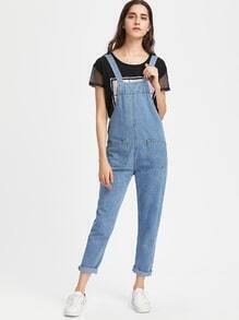 Roll Up Cuff Denim Dungaree