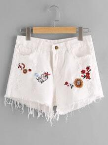 Floral Embroidered Destroy Fray Hem Denim Shorts