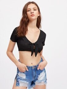 Knot Front Ribbed Crop Tee