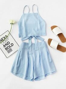 Bow Tie Open Back Cami Top And Shorts Set