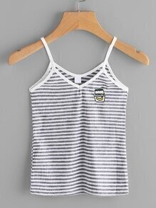 Embroidered Stripe Ringer Cami Top