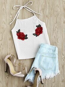 Rose Embroidered Applique Ribbed Top
