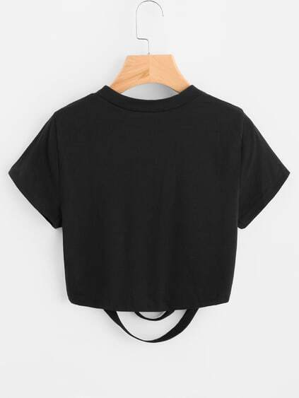 Ladder Ripped Crop Tee