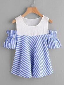 Open Shoulder Contrast Paneled Striped Blouse