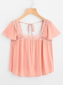 Lace Crochet Paneled Self Tie Top