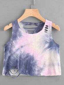 Water Color Ladder Cutout Tank Top