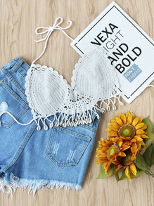 Scallop Edge Shell Detail Crochet Top