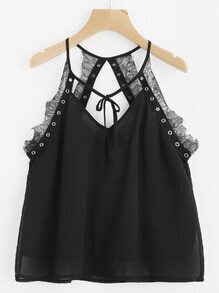 Eyelet Embellished Lace Insert Swing Cami Top