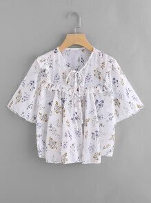 Ditsy Print Self-tie Flounce Blouse