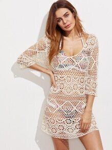 Hollow Out Scoop Neck Crochet Cover Up Dress