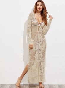 Crisscross V Neck Side Slit Maxi Cover Up Dress