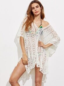 Double V Neck Crochet Cover Up