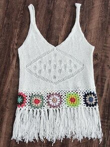 Fringe Hem Crochet Beach Tank Top