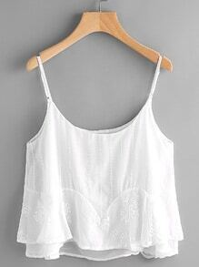 Embroidery Detail Layered Chiffon Cami