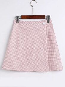 Gingham A Line Skirt With Buttons