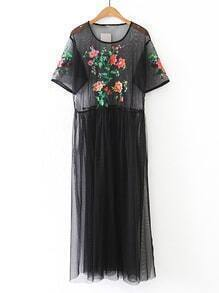 Flower Embroidery Sheer Mesh Dress