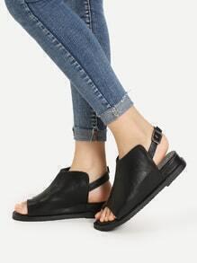 PU Toe Ring Flat Sandals