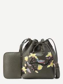 Flower Embroidery Drawstring PU Bucket Bag With Purse