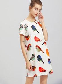 Robe imprimée des oiseaux partout