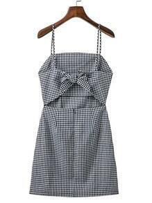 Cut Out Front Gingham Cami Dress With Bow