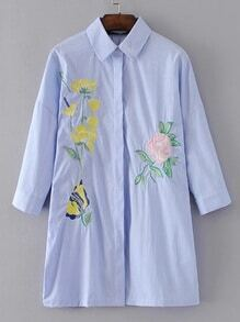 Flower Embroidery Pinstripe Shirt Dress