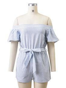 Bardot Vertical Striped Bow Tie Waist Playsuit