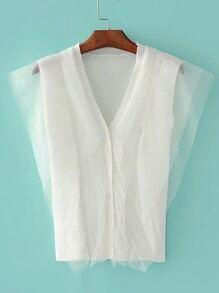 Mesh Overlay Sleeveless Knitwear